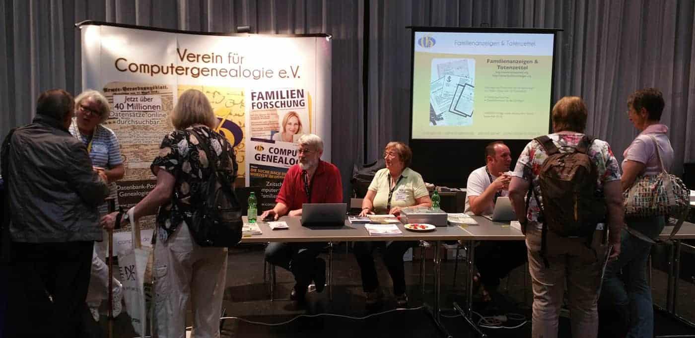 Stand des Compgen-Vereins am Genealogentag 2016 in Bregenz