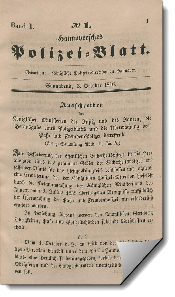 Neuer Jahrgang des Hannoverschen Polizeiblatts (1861) zur Erfassung freigegeben