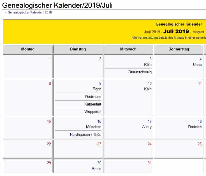 Genealogischer Kalender