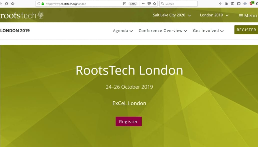 ROOTSTECH 2019 in London 24.-26.10.2019