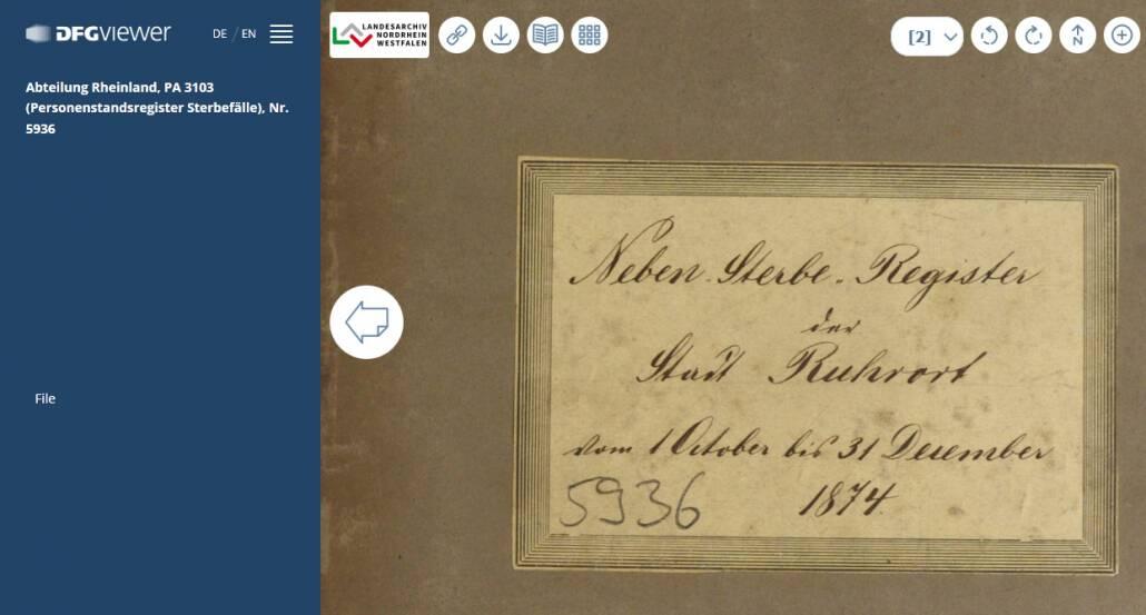 Rheinische Sterberegister 1876-1938 von Aachen bis Issum online