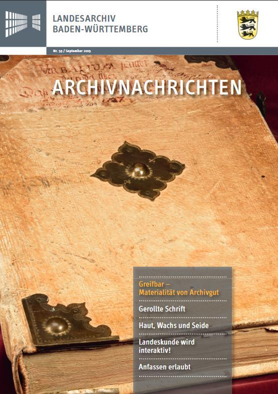 Aktuelles Heft der Archivnachrichten des Landesarchivs Baden-Württemberg (Nr. 59)