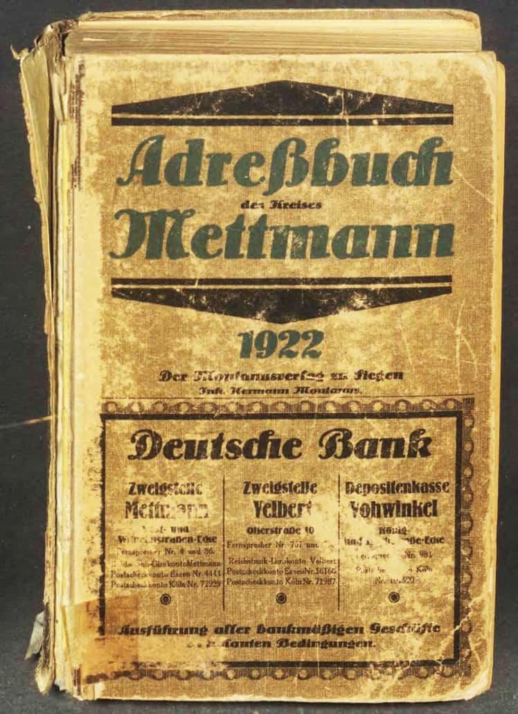 Adressbücher im DES erfasst: Kreis Mettmann 1922 und Oldenburg 1901; neu in der Erfassung: Stuttgart 1935