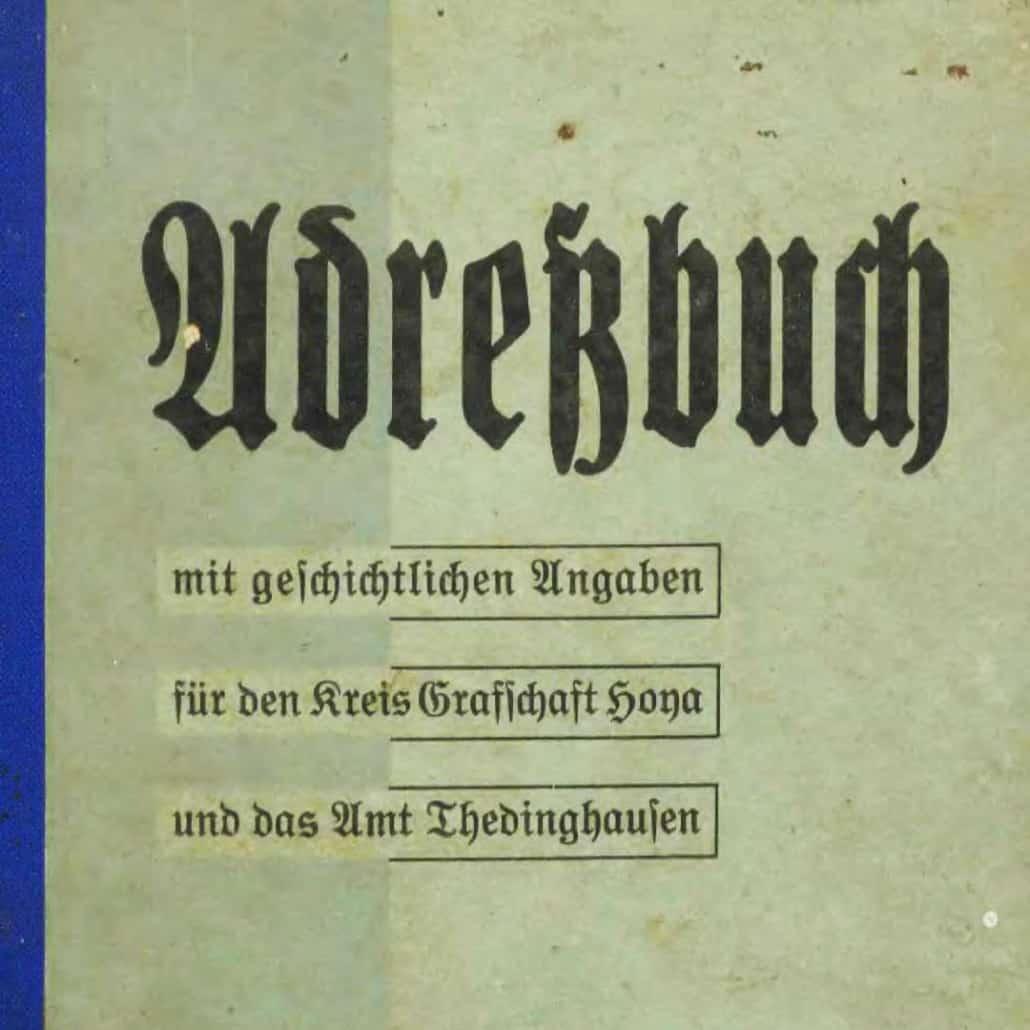 Adressbuch Kreis Grafschaft Hoya und Amt Thedinghausen 1936