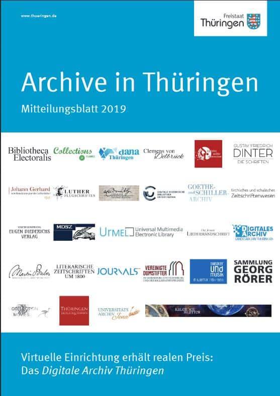 "Aktuelles Heft der ""Archive in Thüringen"", 2019"