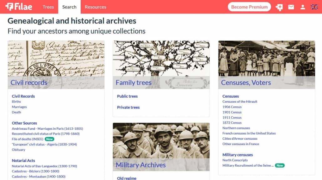 Ahnenforschung in Frankreich – jetzt auch auf englisch mit Filae.com