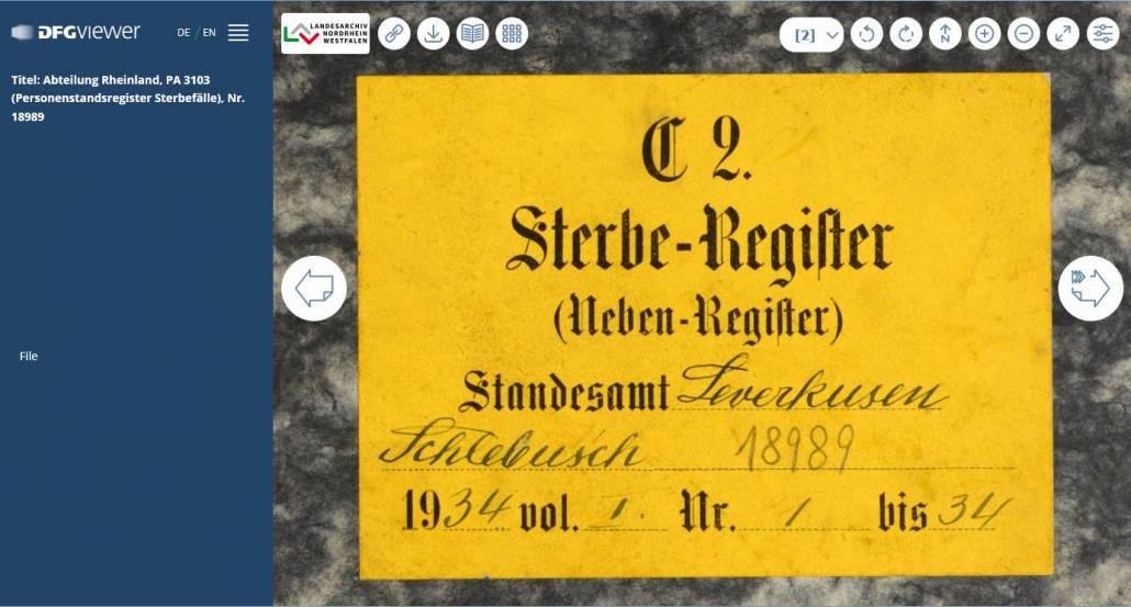 Rheinische Sterberegister 1876-1938 von Aachen bis Menden online