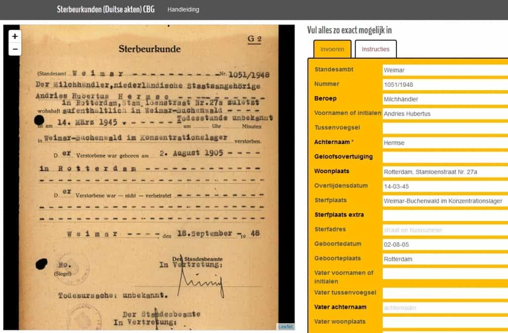 Zweiter Weltkrieg: Niederländer in Rotkreuz-Karteien und deutschen Sterbeurkunden