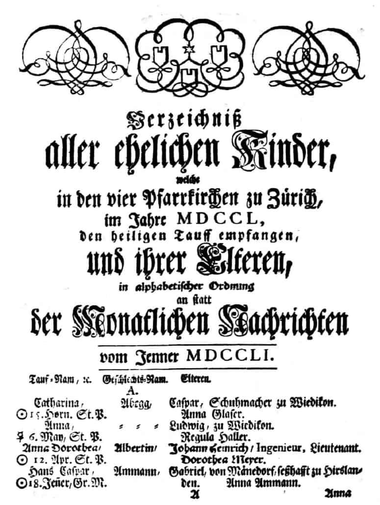 Züricher Taufen, Ehen und Verstorbene 1751-1800 digital