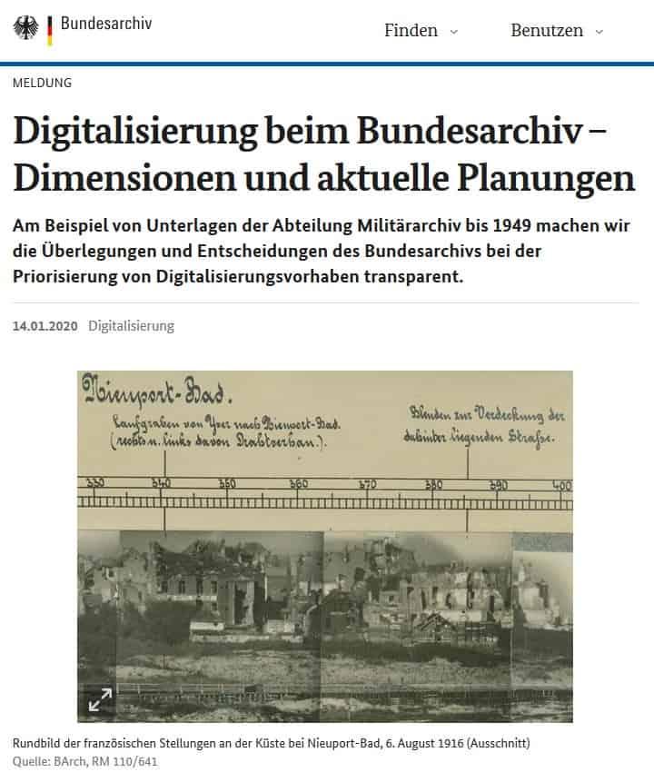 Digitalisierung beim Bundesarchiv, Abt. Militärarchiv