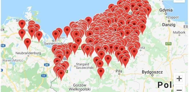 Karte, die die von GreifX erfassten Orte zeigt