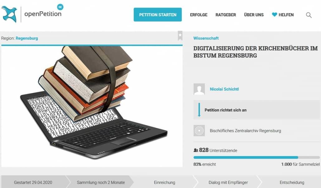 Petition: Kirchenbücher des Bistums Regensburg digitalisieren und online stellen!