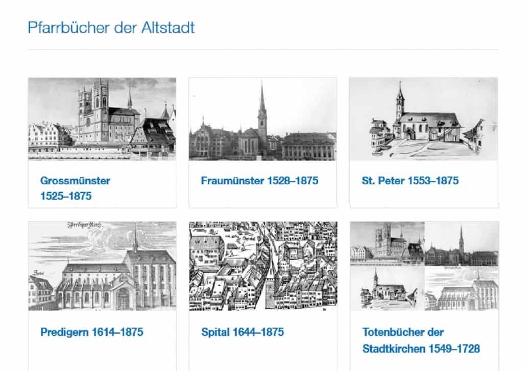 Kirchenbücher der Altstadt von Zürich sind online