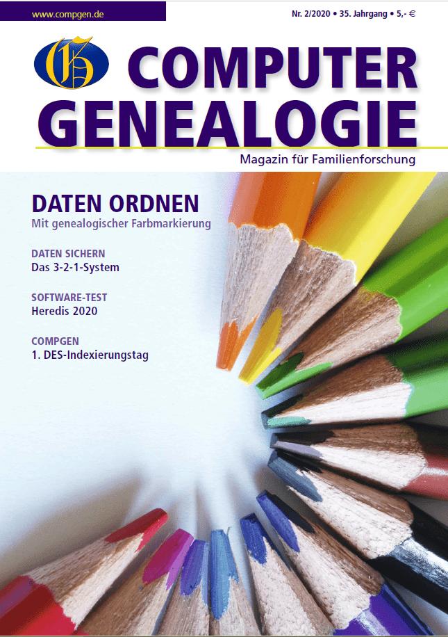 Die Computergenealogie Heft 02/2020 erscheint zum 19.Juni 2020