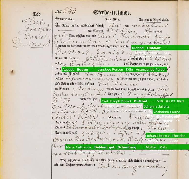 600 000 Personeneinträge aus den Kölner Sterbeurkunden 1833-1938 indexiert