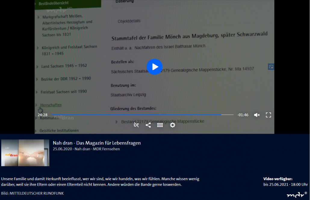Nah dran: Sendung zu Familie und Familienforschung in der mdr-Mediathek