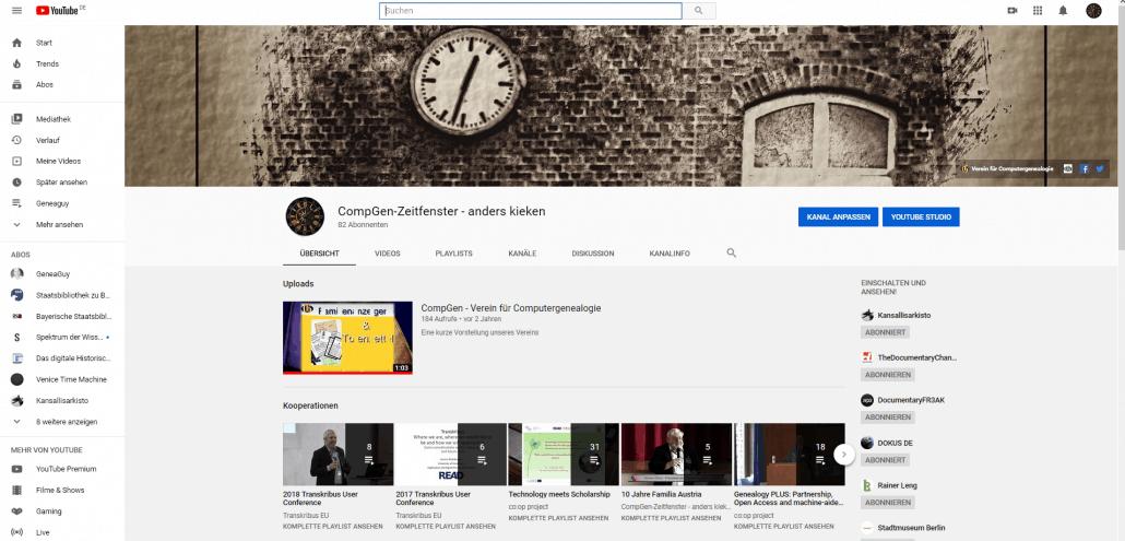 """Unsere CompGen-Kanäle auf Youtube - hier der Kanal """"CompGen Zeitfenster - anders kieken"""""""