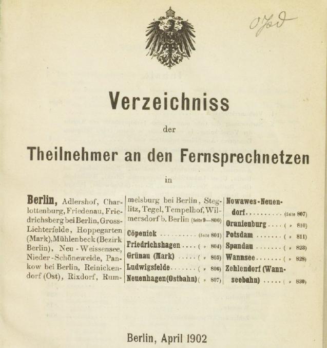 Berliner Telefonbücher von 1881 bis 1902 online