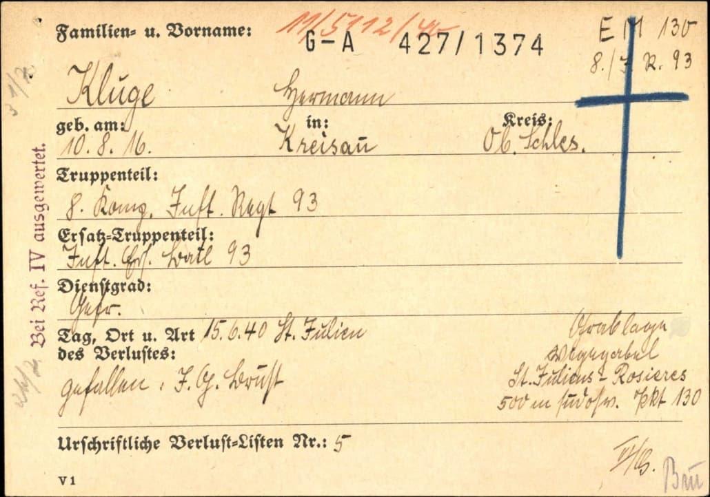 Erläuterungen zu den Karteien der Wehrmachtsauskunftstelle (WASt)
