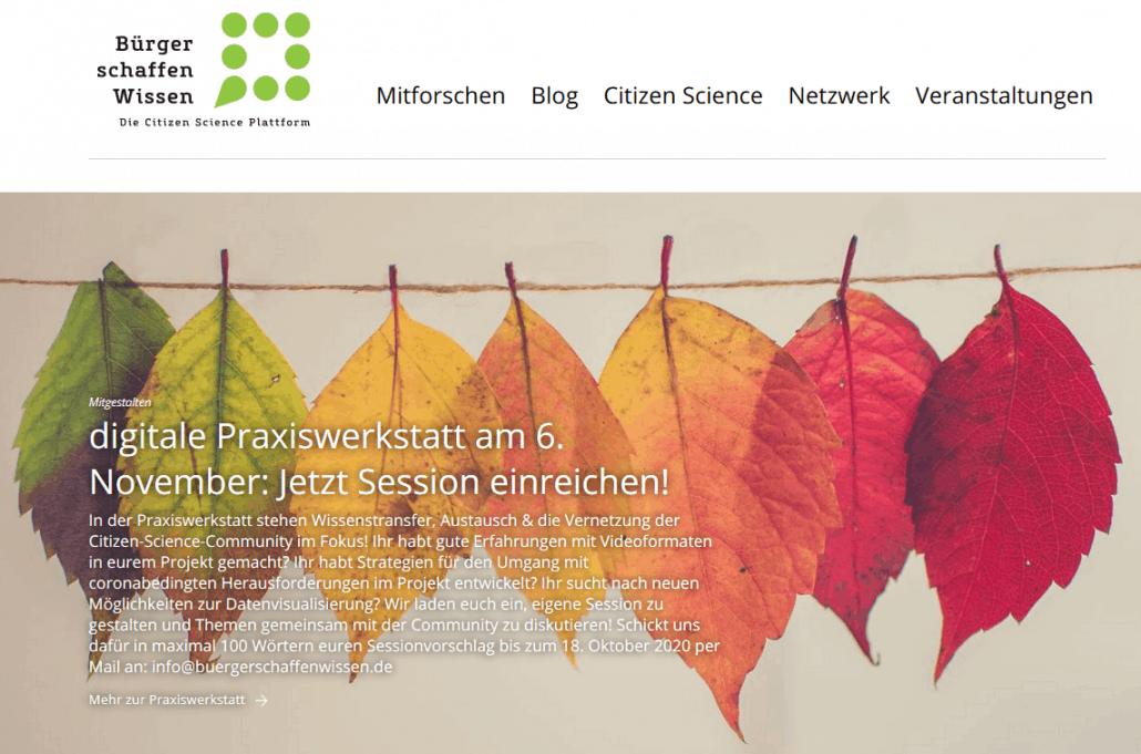 Screenshot der Homepage von Bürger schaffen Wissen - der Citizen Science Plattform
