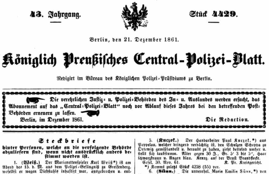 Preussisches Zentral-Polizei-Blatt Jahrgang 1861 neu in der Erfassung