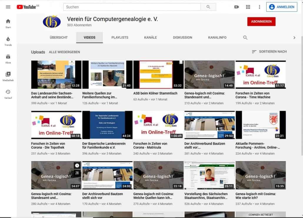 Wie man den Youtube-Kanal des Compgen abonnieren kann