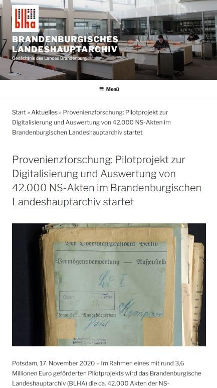 Digitalisierung der Akten der Vermögensverwertungsstelle im Brandenburgischen Landeshauptarchiv