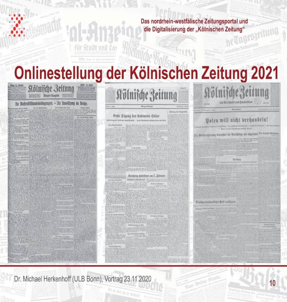"""Die """"Kölnische Zeitung"""" (1802-1945) kommt digital ins NRW-Zeitungsportal"""