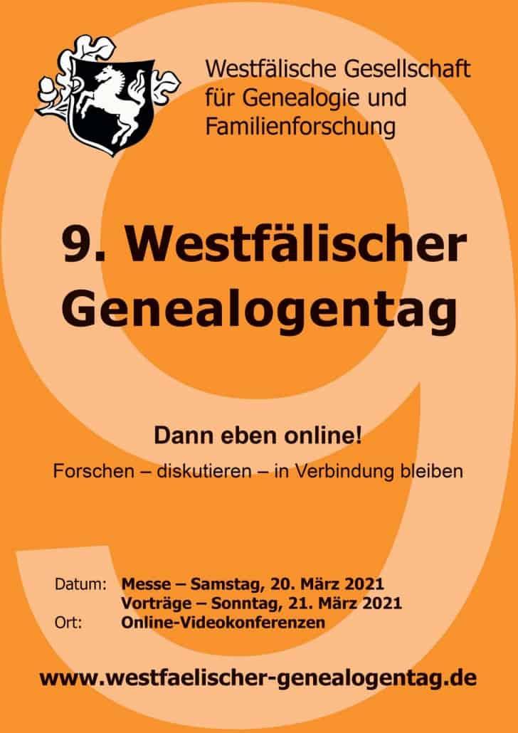 Dann eben online! Der 9. Westfälische Genealogentag am 20./21. März 2021