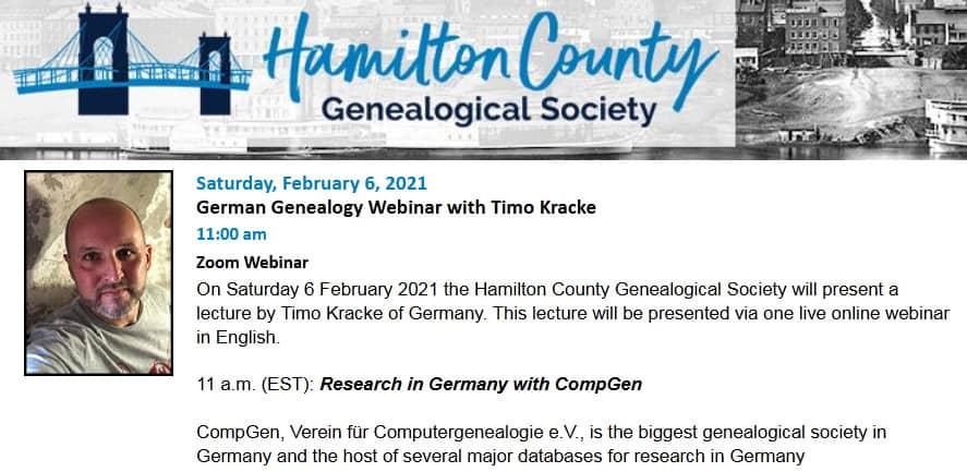 German Genealogy Webinar mit Timo Kracke