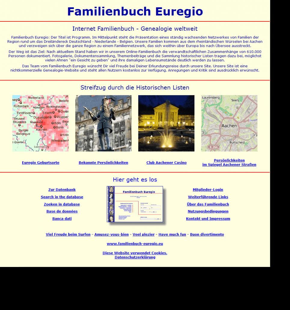 Familienbuch EUREGIO - die Sitzung des Ahnenforscherstammtischs Köln steht nun online