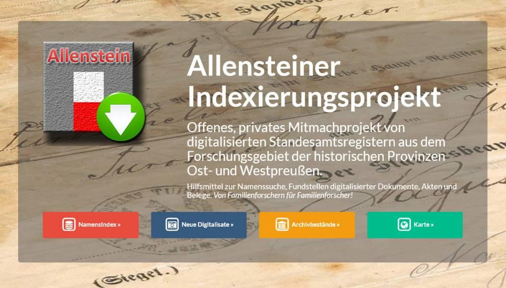Allensteiner Indexierungsprojekt an die Compgen-Metasuche angeschlossen