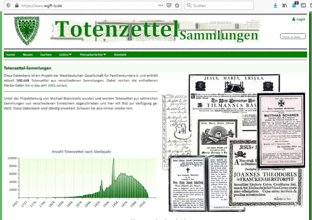 Über 500.000 Totenzettel online in der Sammlung der WGfF
