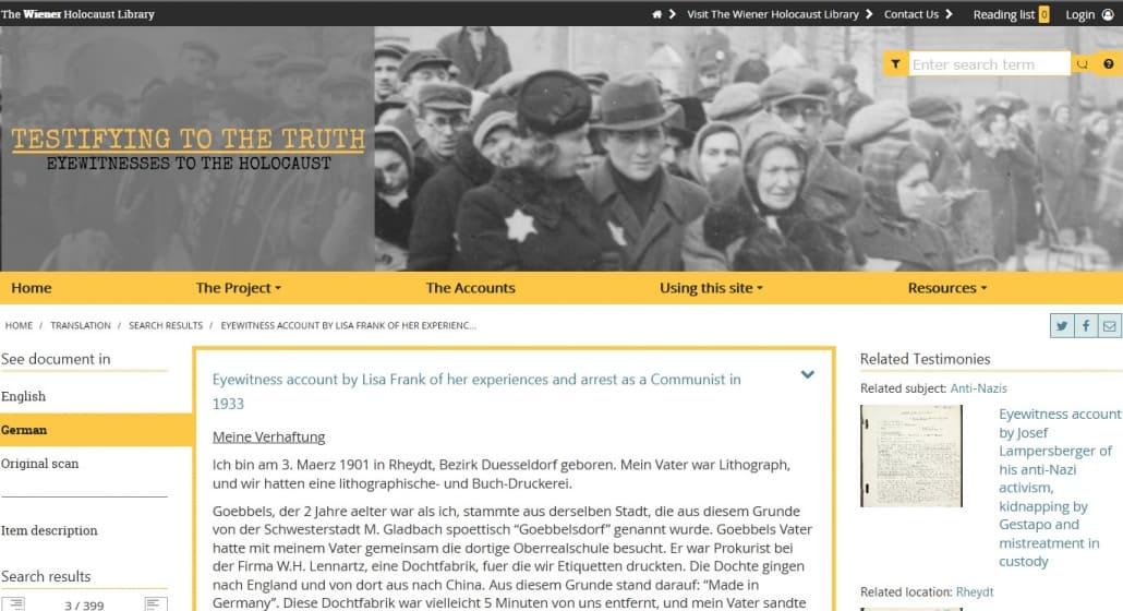 Augenzeugenberichte von Holocaust-Überlebenden sind jetzt online zu lesen