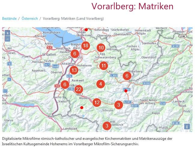Kirchenbücher aus  Vorarlberg bei Matricula