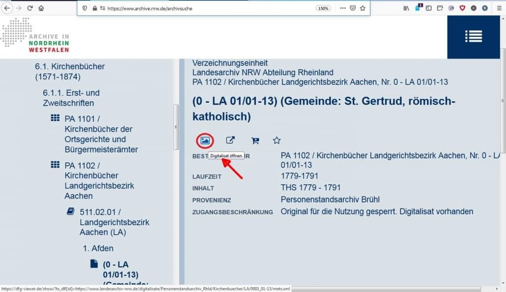 NRW-Landesarchiv Rheinland: neue Kirchenbuch-Digitalisate