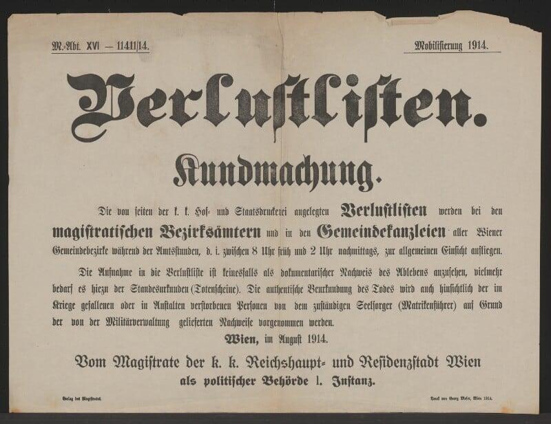 2,5 Millionen Daten aus österreichisch-ungarischen Verlustlisten erfasst