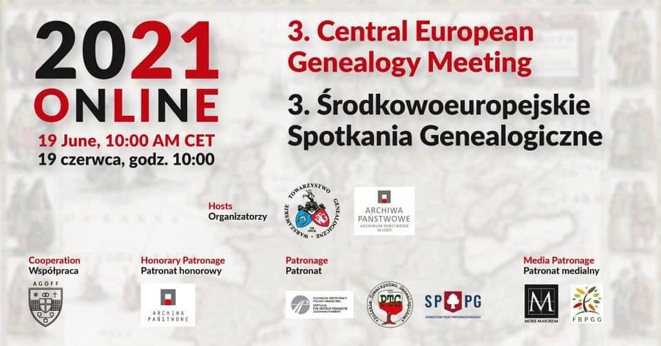 3. Mitteleuropäischer Online-Genealogentag in Warschau am 19. Juni 2021