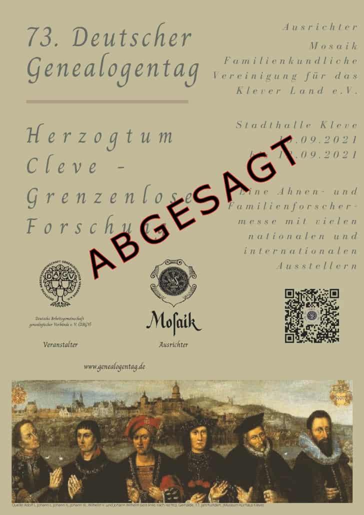 Abgesagt: 73. Deutscher Genealogentag in Kleve