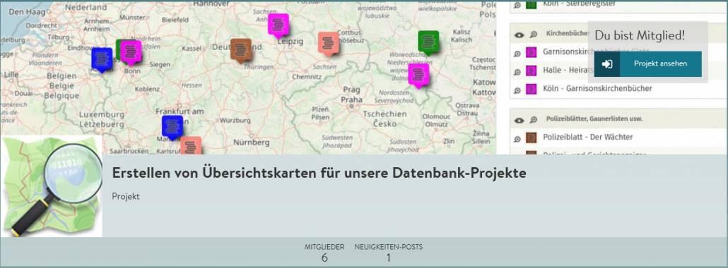 Übersichtskarten für unsere CompGen-Datenbanken