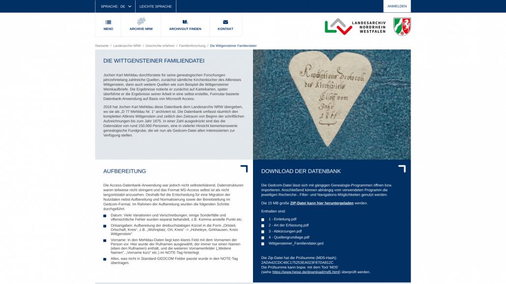 Screenshot der Unterseite zur Wittgensteiner Familiendatei auf der Webseite des LAV NRW (17. 07.2021)