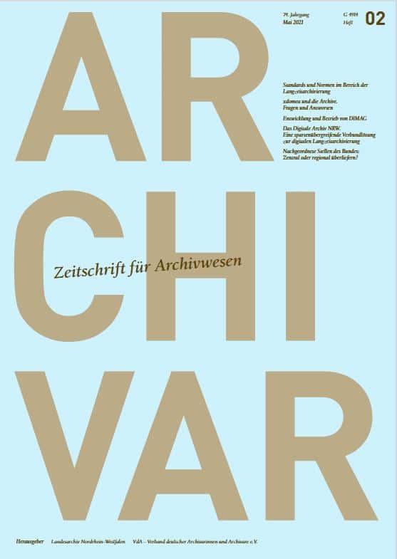 Titelseite des ARCIVAR 2/2021. Thema: Digitale Langzeitarchivierung