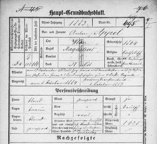 ein Haupt-Grundbuchsblatt der österreichischen Armee