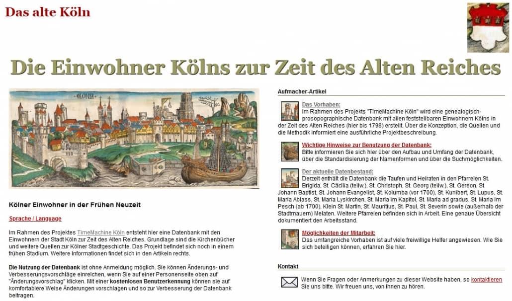 "Die Kölner Bürger auf der website ""Altes Köln"""