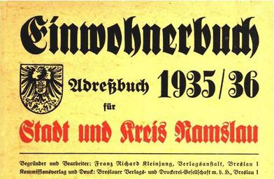 Titelseite des Adressbuch für Stadt und Kreis Namslau
