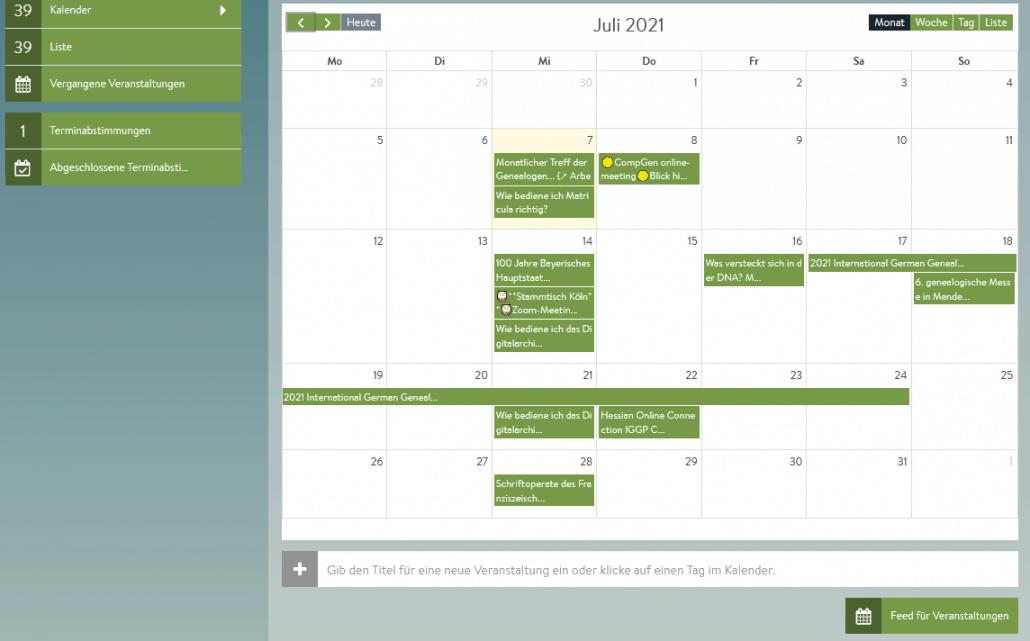 Wochenvorschau Genealogische Online-Veranstaltungen - KW 28