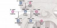 Ausschnitt der Stammlinie mit Leonardo da Vinci, seiner Eltern und seinem Halbbruder