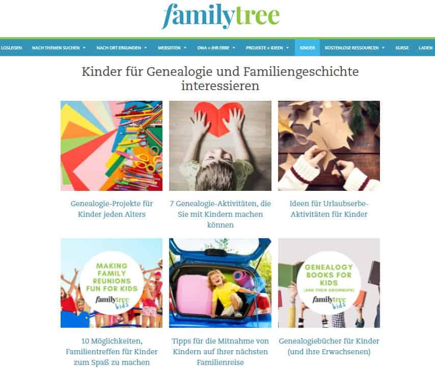 Projektvorschläge für Familienforschung mit Kindern von familytree
