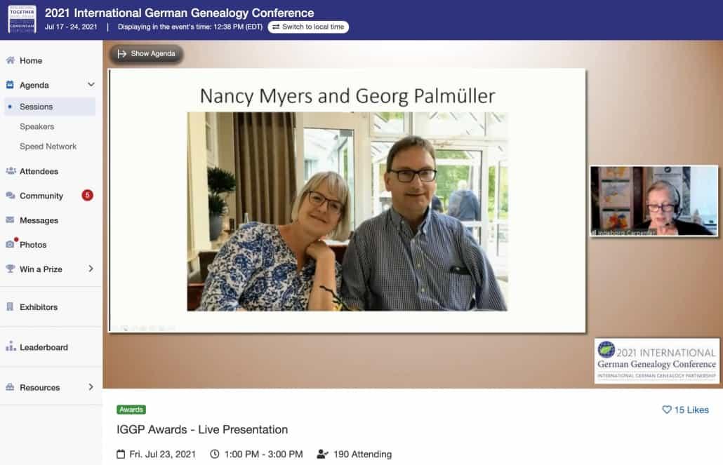 """Nancy Myers und Georg Palmüller erhielten auf der IGGC2021 den """"Ambassador Award"""" der IGGP"""