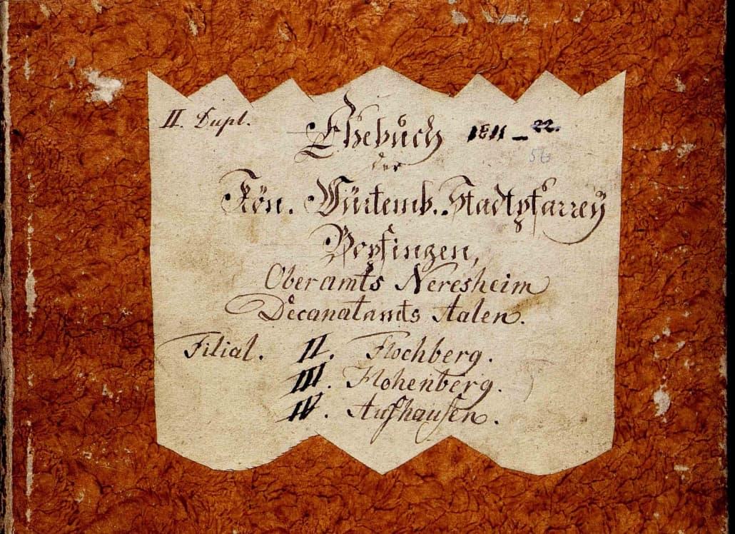 Titel des Eheregisters der Stadtpfarrei Bopfingen 1811-1856